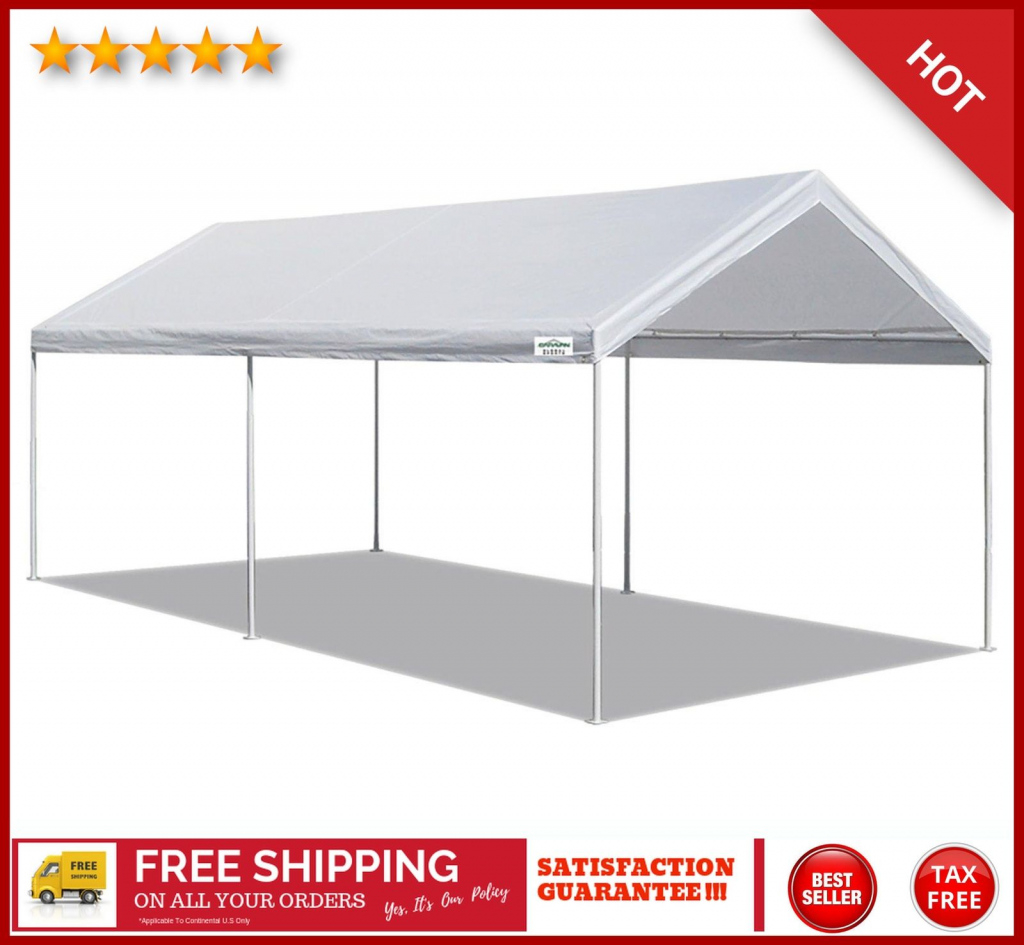 Details About 10X20 Ft Canopy Tent White Heavy Duty Steel Carport Portable  Car Shelter 6 Legs Image Example of Carport Canopy 10X20