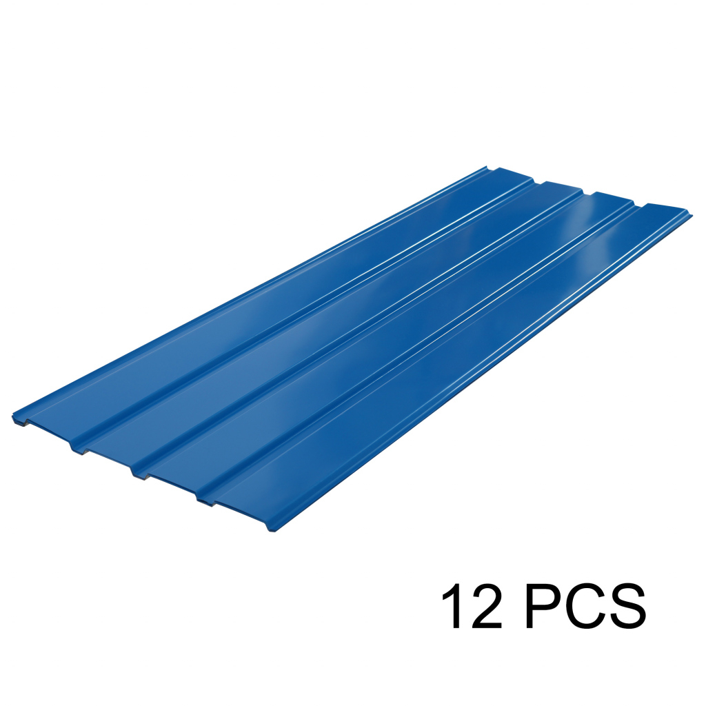 Details About 12 Pcs Blue Corrugated Roof Sheets Profile Galvanized Metal  Roofing Carport Picture Example for Metal Carport Sheets