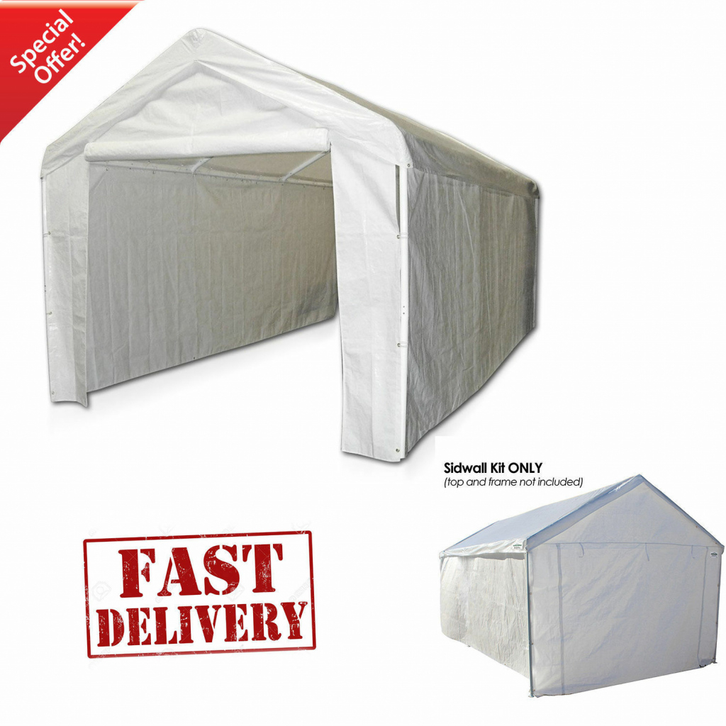 Details About Garage Canopy Side Wall Kit Only 10 X 20 Tent Portable White  Car Shelter Carport Image Sample of Portable Enclosed Carport