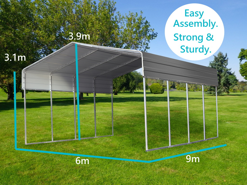 Details About Steel 6X9M Double Carport Kit Backyard Shelter Diy Shed  Garage Portable Pergola Picture Sample for How To Lift A Metal Carport