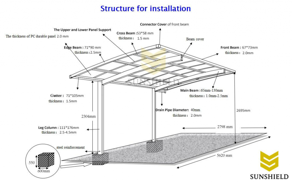 Diy Metal Carport Build Polycarbonate Parking Shade  Sunshield Image Sample for How To Build A Steel Carport