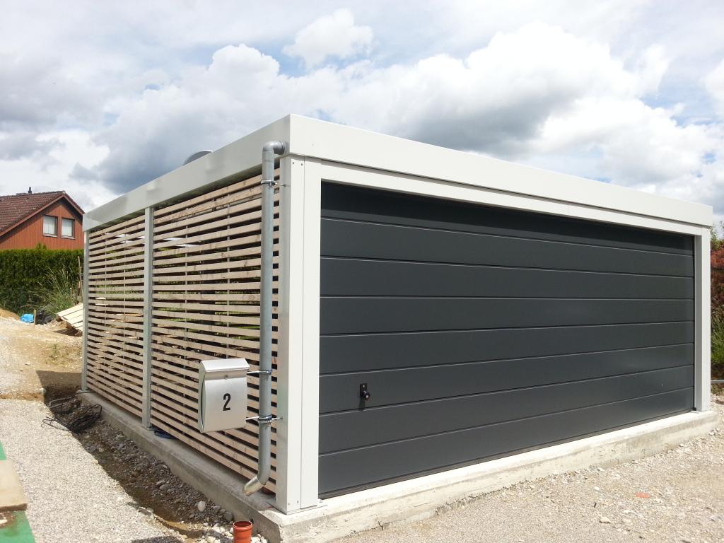Doppelcarport Aus Stahl Mit Großem Sektionaltor  News Brandl Picture Example for Carport Garage Metal