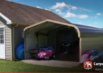 Double Wide Carport 20' Wide X 24' Long X 6' High Facade Example in 20X24 Metal Carport