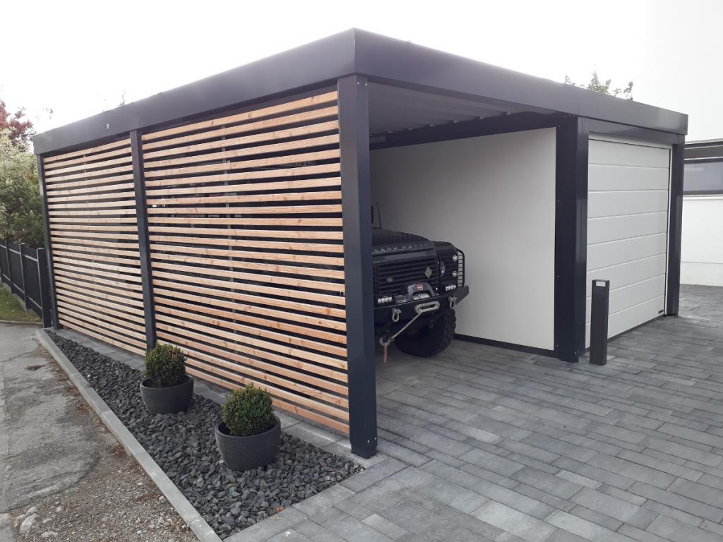 Einzelcarport Aus Stahl Mit Sektionaltor  Anbaucarport Image Sample in Carport Garage Metal
