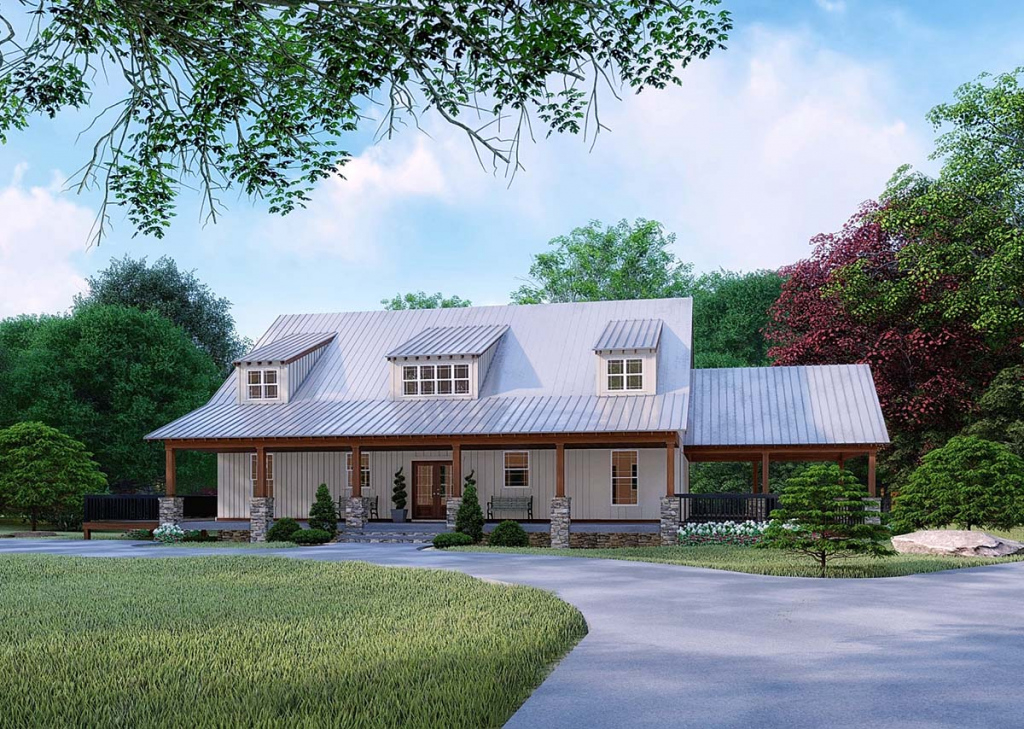 Farmhouse Style House Plan 82526 With 3 Bed 4 Bath 2 Car Garage Picture Sample in House Plans With Carport In Back