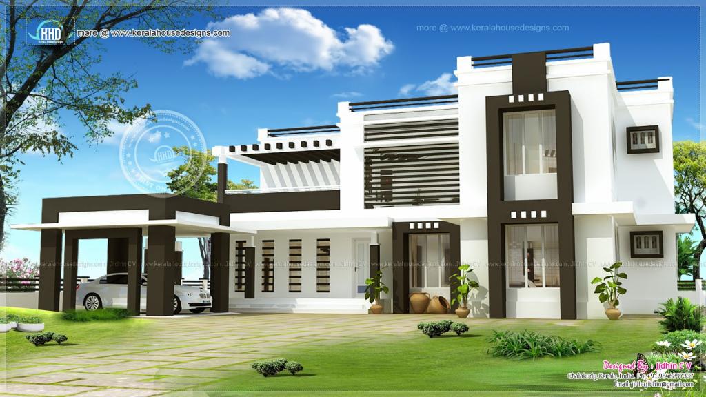 Flat Roof House Exterior Kerala Home Design Floor  House Facade Sample of Modern Flat Roof Carport