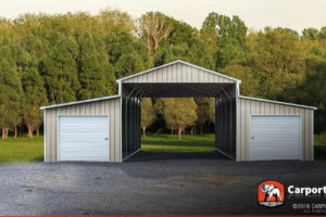 Four Car Barn 42' Wide X 21' Long X 12' High Image Sample for Metal Carport Barn
