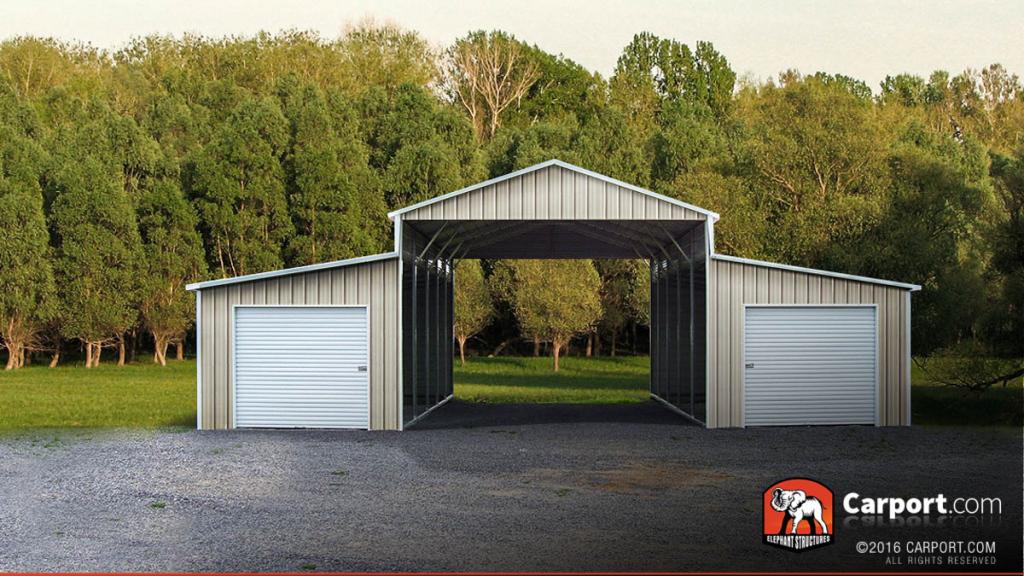 Four Car Barn 42' Wide X 21' Long X 12' High Image Sample for Metal Carport Barn