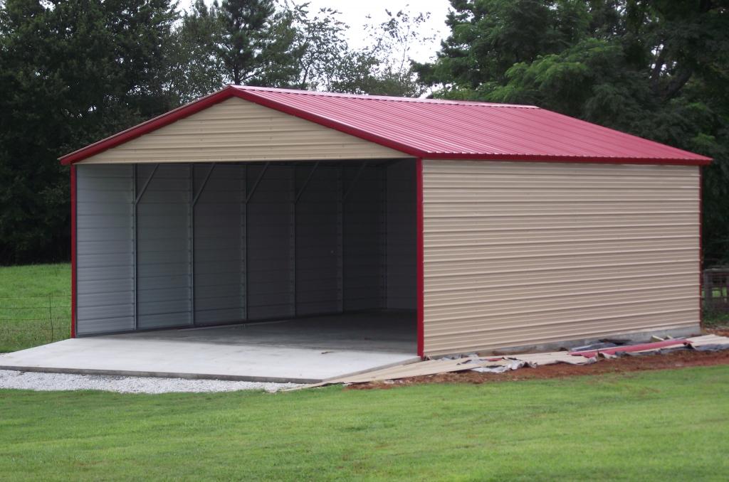 Garage Menards Pole Barns  Metal Carports Kits  Home Facade Example in Portable Enclosed Carport