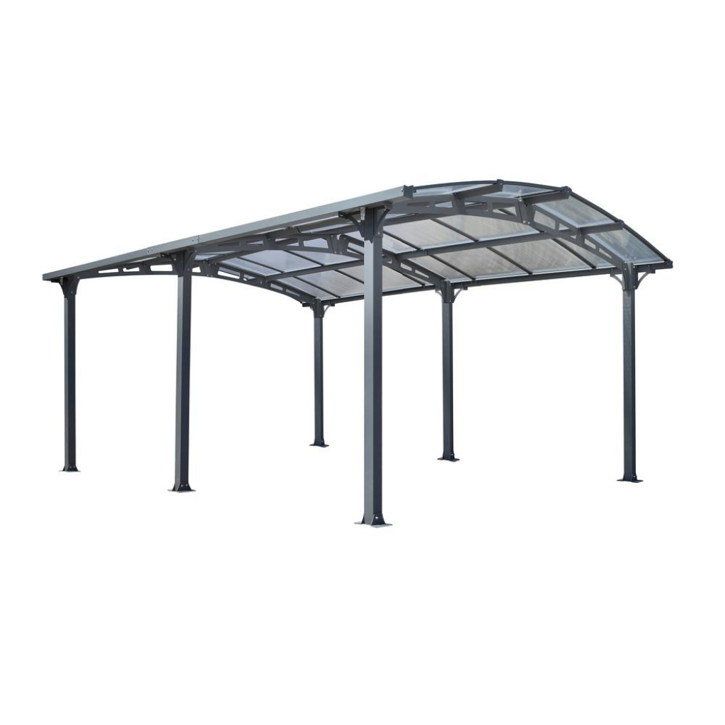 Gazebo Penguin Acay Carport 16 Ft 6 In D X 11 Ft 10 In W X 7 Ft 9 In  H With Gutter In Slate Facade Example of Metal Carport Used