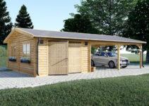 Graed Garage  Carport Double 44 Mm Facade Sample in Wood Double Carport