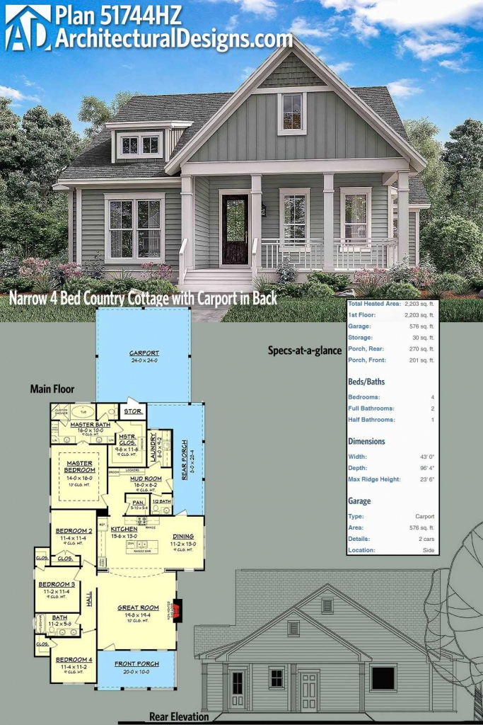 House Plans With Sunroom With Plan Hz Narrow 4 Bed Country Facade Example for Carport House Plans
