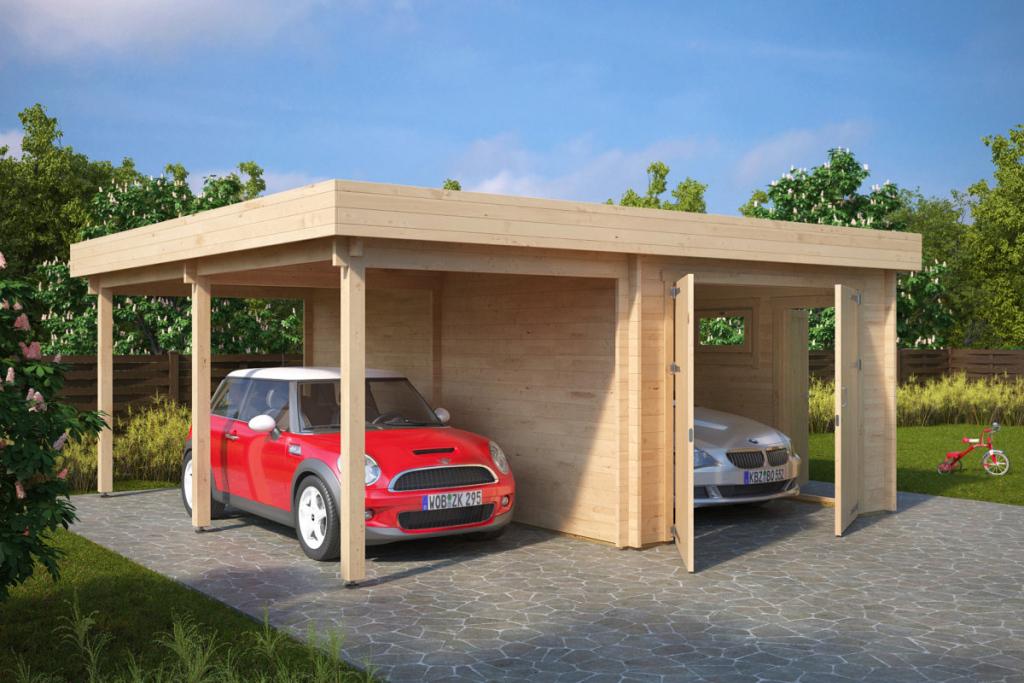 Kombimodell Mit Carport Und Garage Typ H  44Mm  6 X 6 M Image Example of Garage And Carport