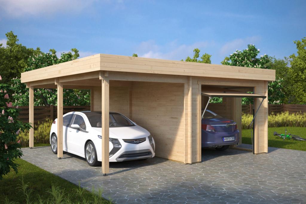 Kombimodell Mit Carport Und Garage Typ H Mit Schwingtor  44Mm  6 X 6 M Image Example of Garage And Carport