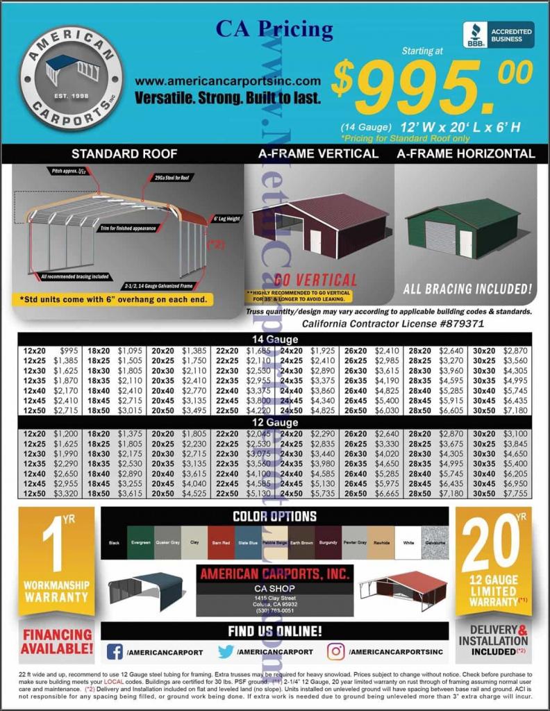 Metal Carport  Buildings  Ca Nv  Or Pricing  Metal Image Sample in Metal Carport Prices