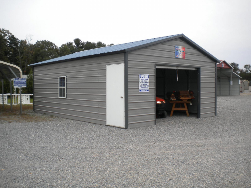Metal Carports And Garages Ideas — Mile Sto Style Decorations Photo Sample of Enclosed Metal Carport