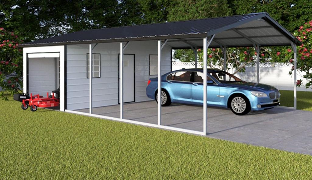 Metal Shed And Carport Combo Unit  Eagle Carport Image Sample of Combo Garage Carport