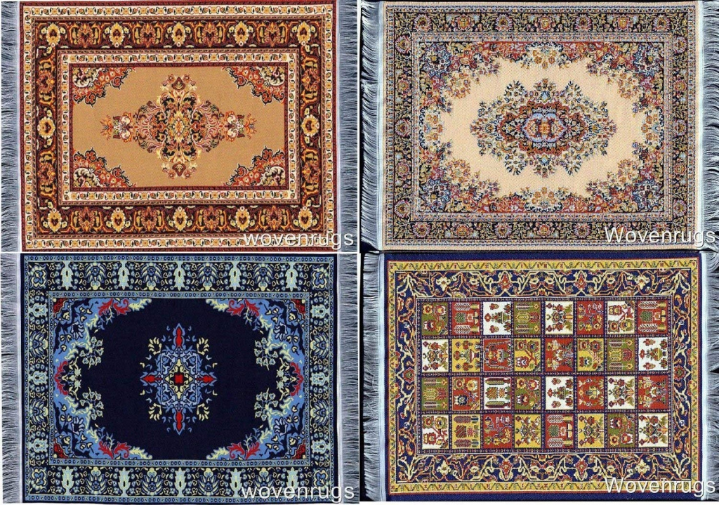 Miniature Woven Dollhouse Carpet  Set Of 4  Dolls House Rugs Picture Sample of Dolls House Carpet