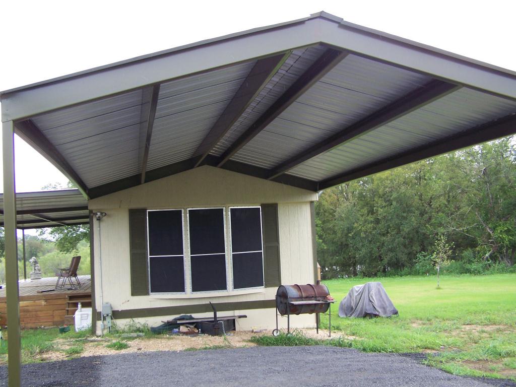 Mobile Home Metal Roof Awning Carport La Vernia Installing Photo Sample for Metal Carport Panels