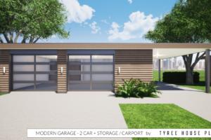 Modern Garage Plan  2 Car Plus Storage And Carport Facade Example of Modern Carport Plans