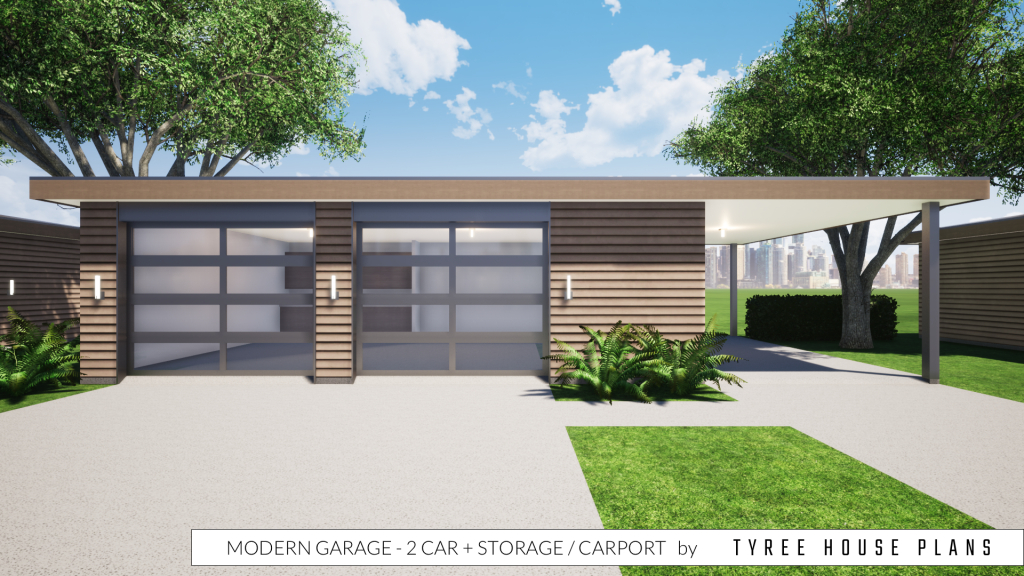 Modern Garage Plan  2 Car Plus Storage And Carport Picture Example of Carport House Plans