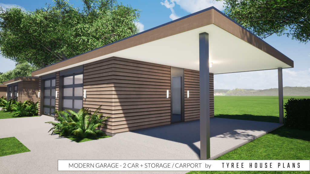 Modern Garage Plan  2 Car Plus Storage And Carporttyree House Plans Photo Example for House With Carport On Side