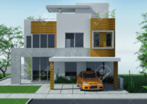 Modern House With Carport Lawn With Mini Garden 3D Rendering Photo Example for Modern House With Carport