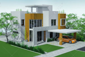 Modern House With Carport Lawn With Mini Garden 3D Rendering Photo Sample for House With Carport