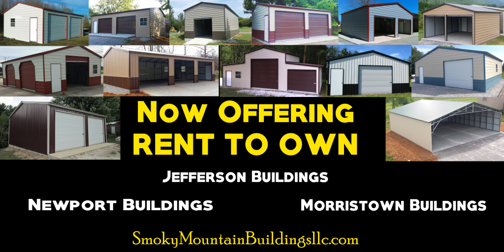 Now Offering Rent To Own On Our  Smoky Mountain Photo Sample of Metal Carport Rent To Own