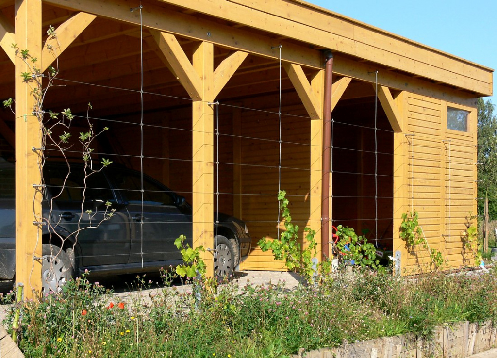 Opaque Carport Greening With Cable Facade Sample in Wood Carport Kits