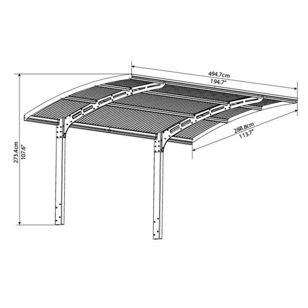 Palram Arizona 5000 Breeze Cantilever Carport Facade Example in Cantilever Carport Kits
