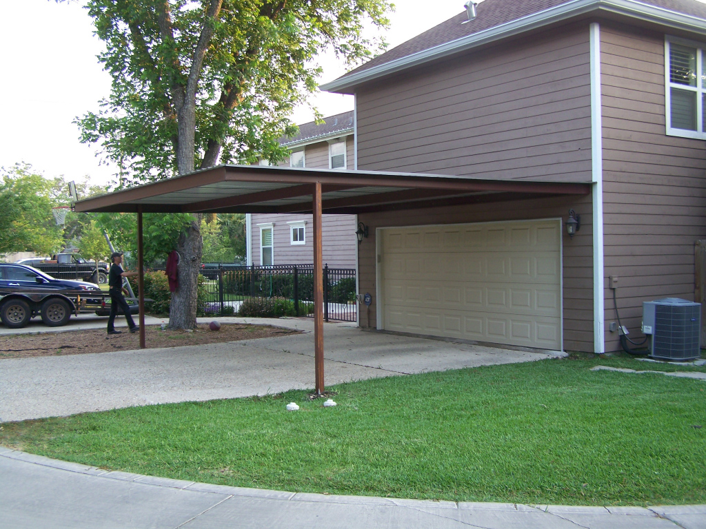 Patio Covered Attached House Lean Carport To Garage Dutch Image Sample in Outdoor Carport Ideas