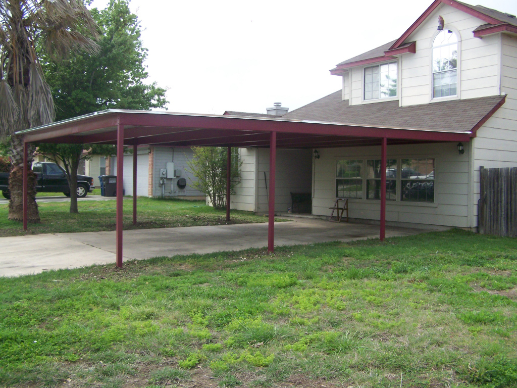 Patio Covered Flat Roof Lean Metal Carport Kits Lowes Double Facade Example in How To Build Metal Carport