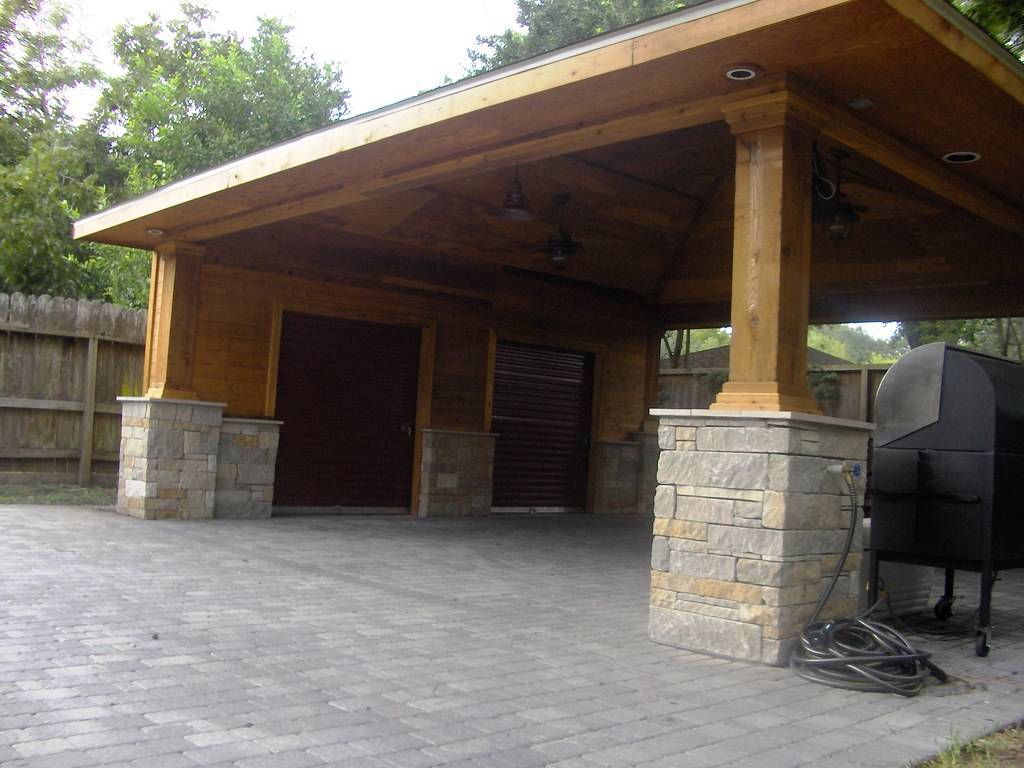 Paver Driveway With Carport And Storage 10  Scott Ward  Flickr Picture Example for Wood Carport With Storage