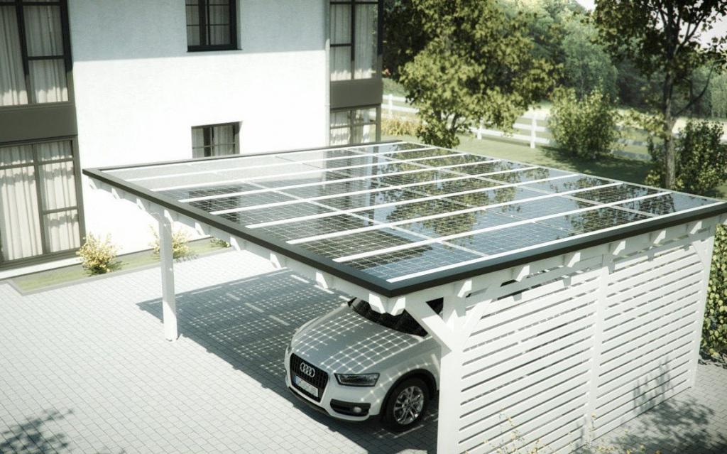 Photovoltaikdächer Für Carport Und Terrasse  Gebäudetechnik Facade Sample in Metal Carport Panels
