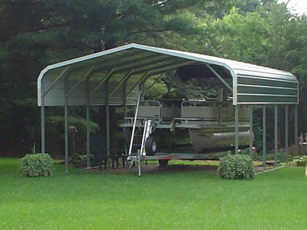 Pontoon Boat Cover  Custom Metal Boat Cover For A Pontoon Photo Example for Do I Need A Building Permit For A Metal Carport