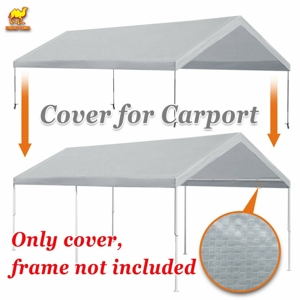 Replacment Canopy For 10X20' Carport Tent Top Garage Cover Only W Bungee  Cords Facade Example in 10X20 Canopy Carport With Sidewalls Costco