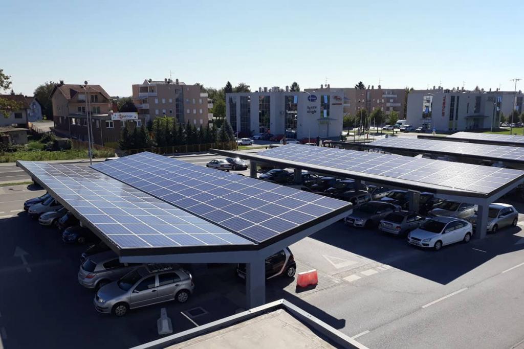 Schatten Spenden Energie Produzieren  Steag Solar Energy Picture Example in Commercial Solar Carport