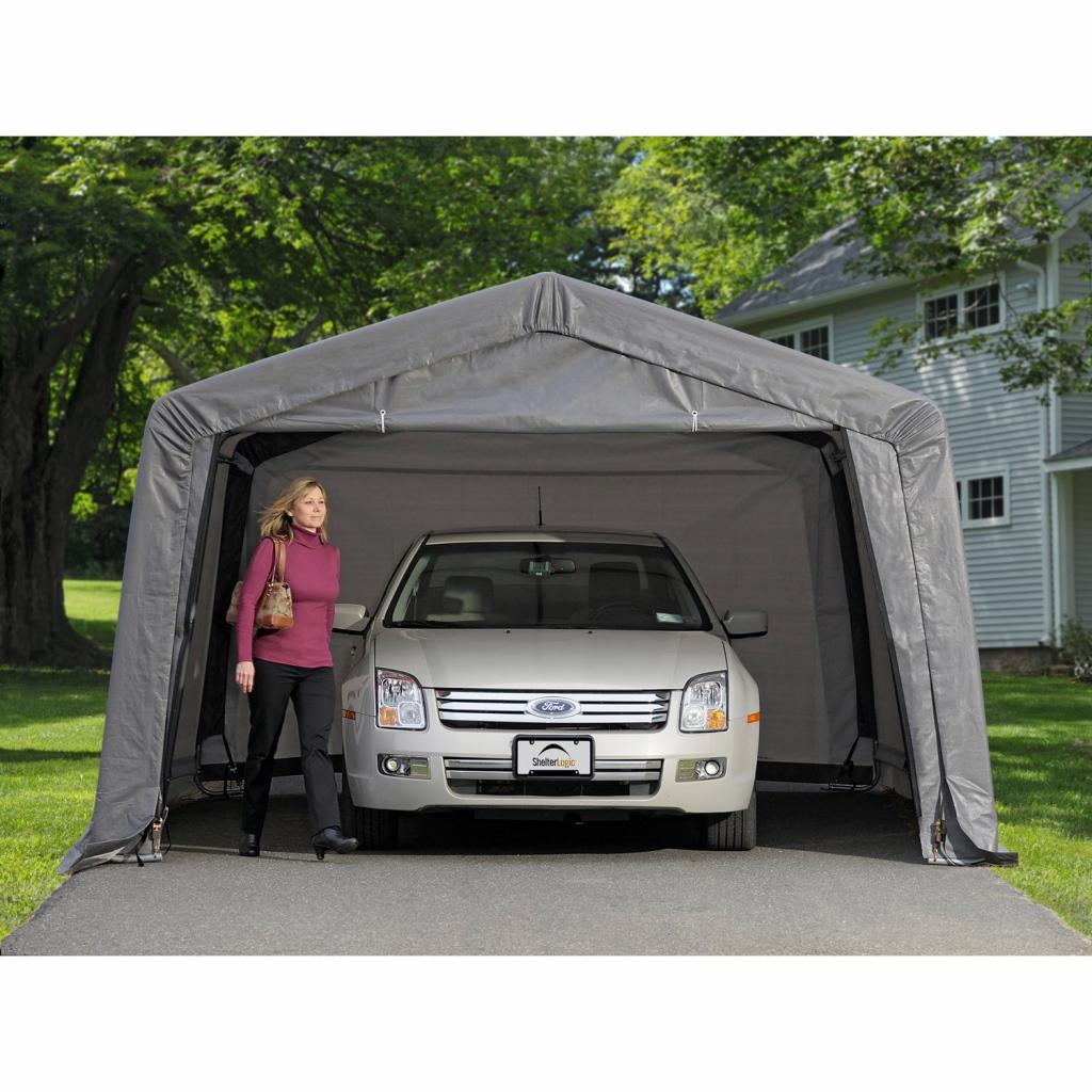 Shelterlogic Garageinabox 1813 M² Grau 490 Cm X 370 Cm X 260 Cm Photo Sample for Shelterlogic Portable Garage Canopy Carport 10' X 20'