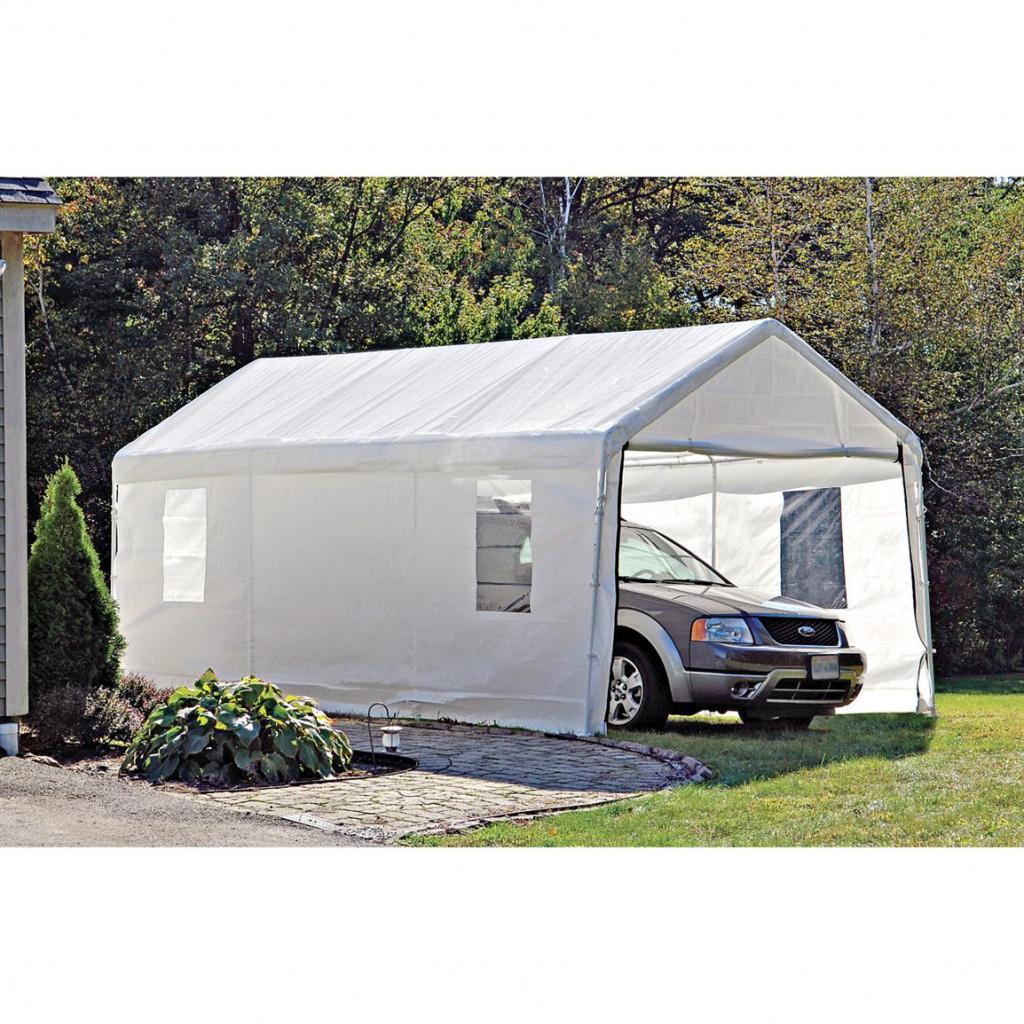 Shelterlogic Portable Garage Canopy Carport 10' X 20 Facade Example in Shelterlogic Portable Garage Canopy Carport 10' X 20'
