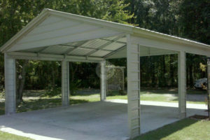 Side Entry Carport Facade Example in Side Entry Metal Carport
