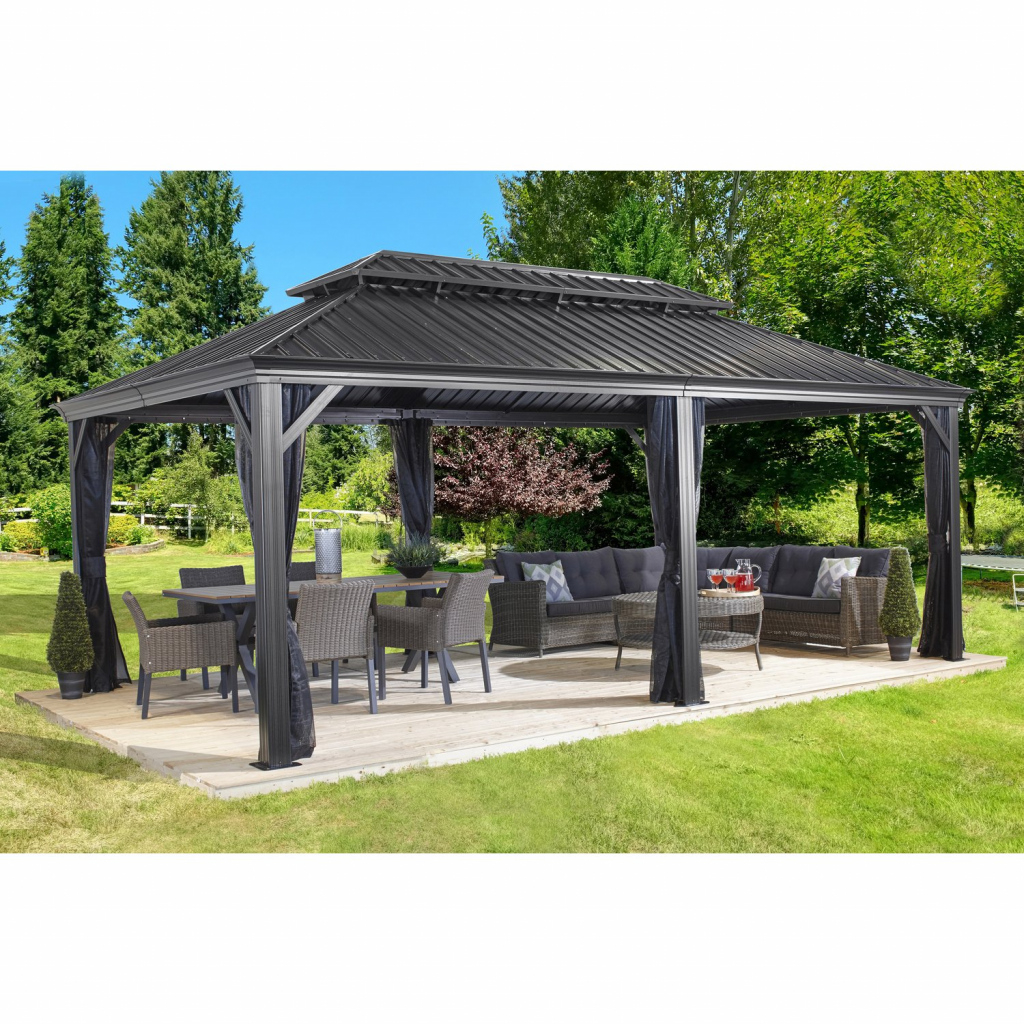Sojag Aluminium Pavillon Messina 12 X 20 Anthrazit 363 Cm X 598 Cm X 307 Cm Photo Sample in Metal Carport 12X20