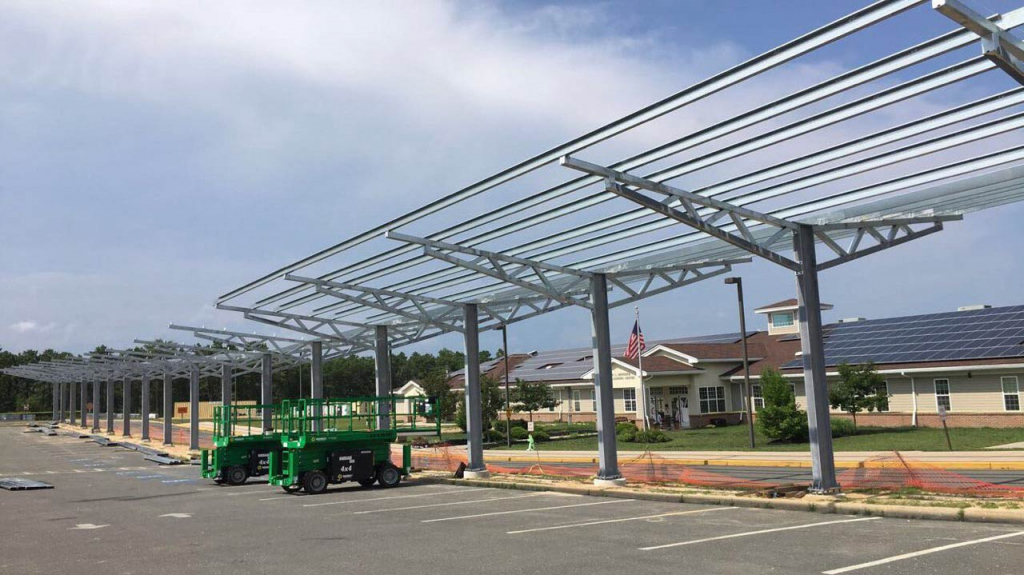 Stafford Solar Carports  Solar Ground Mounts Photo Example of Metal Carport Installation