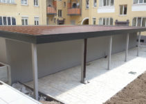 Stahlreihengaragenanlage Garagenhof Mit Sektionaltoren Image Example for Steel Carport Nh
