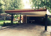 Steel Single Slope Carport Facade Example in Metal Carport On Sloped Driveway