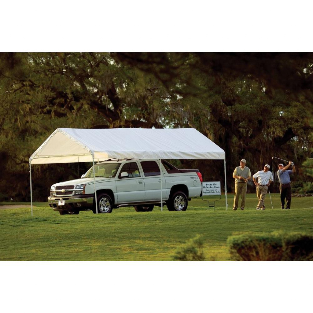 White Shelterlogic 10 X 20 Ft 10 X 20 Deluxe All Purpose Photo Example for Shelterlogic 10X20 Canopy Carport