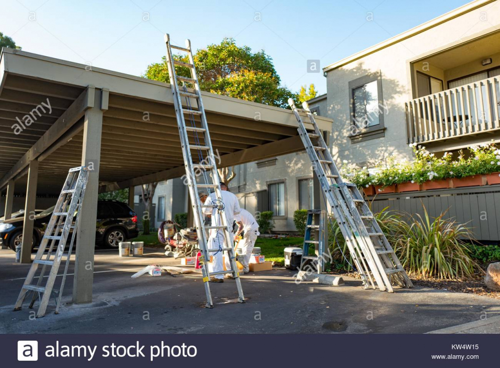 Workers Lean Ladders On A Carport While Preparing To Paint Picture Sample in Metal Carport Paint